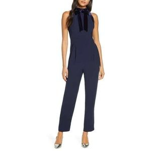 1901 Jumpsuit 4 Velvet Trim Bow Halter Mock Neck